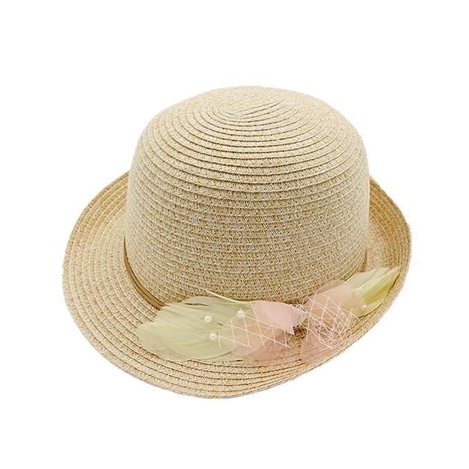 Sombreros de Paja Bombin Trilby Mujeres Niñas Pluma Perla Al Aire Libre  Playa Primavera Verano Sombrero de Sol  Amazon.es  Ropa y accesorios 93c3f366b0f