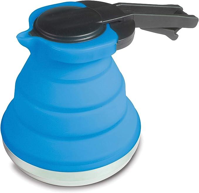 Jarra Ligera y Plegable de Silicona en Color Azul, 1,2 litros, con Tapa y asa, para café, Tetera, jarrita Plegable, para Camping, vajilla, Tienda de ...