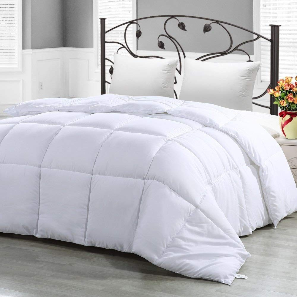 Philly Linens All Season Down Alternative Comforter Luxury Hotel Collection Duvet Insert with Corner Tab,Warm Fluffy,Hypoallergenic,Plush Siliconized Fiberfill,Queen Comforter White
