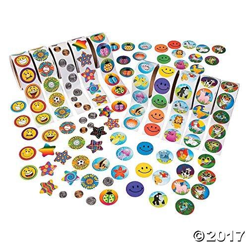 Fun Express Paper Super Rolls of Stickers Assortment, 1000 -