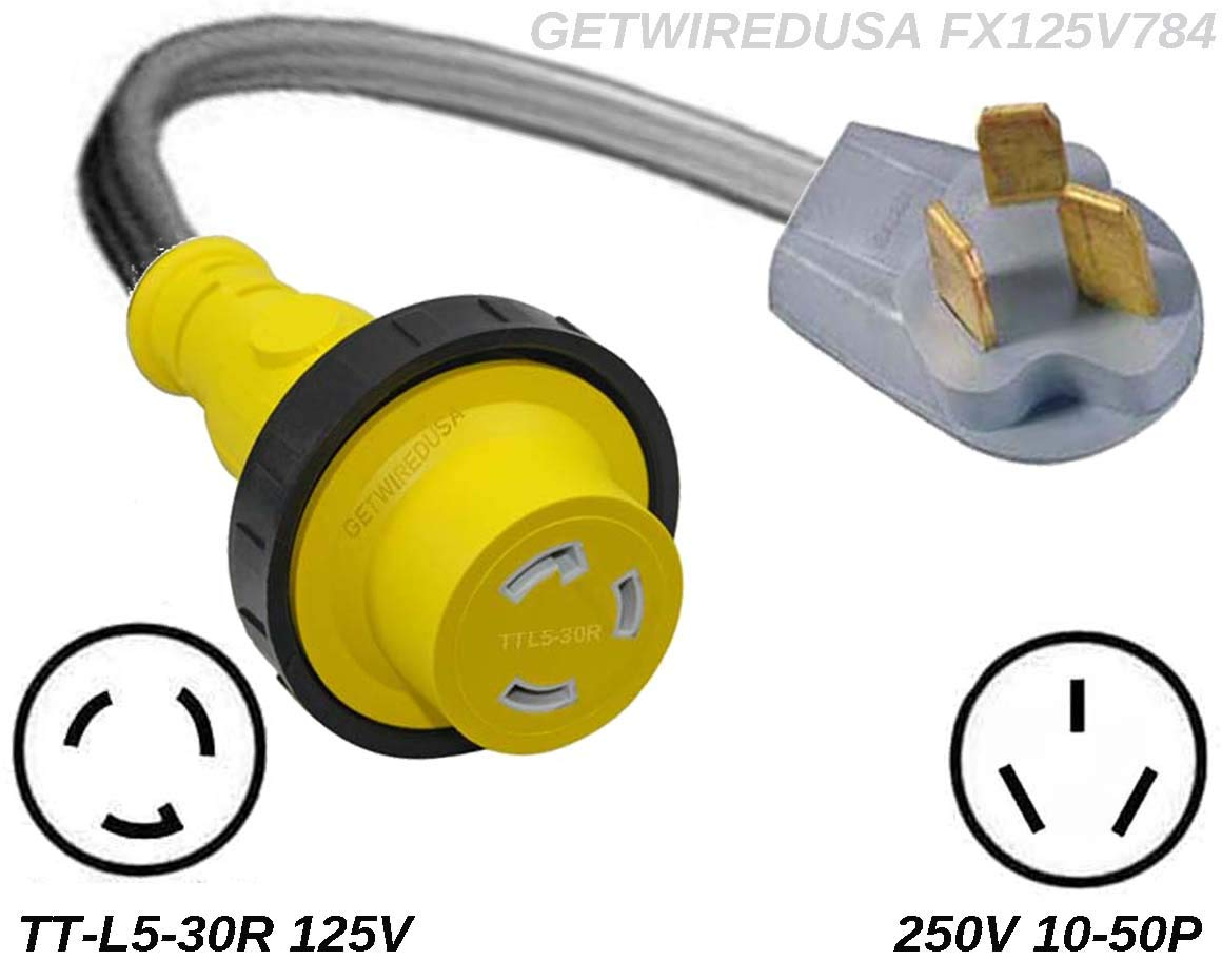 10-50P 3-Pin Male Range Stove Oven 220/250V Plug To TT-L5-30 Female Twist Lock RV Camper Travel Trailer Motor Home 110/125V Receptacle Outlet Adapter, Electrical Power Cord Convert NEMA FX125V784 by getwiredusa (Image #1)