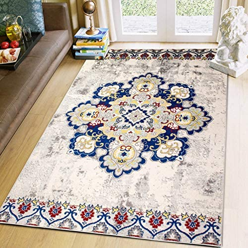 Super Area Rugs 8×10 Bohemian Medallion Traditional Dining Room Area Rug 8 X 10 Carpet, Multicolor Ivory