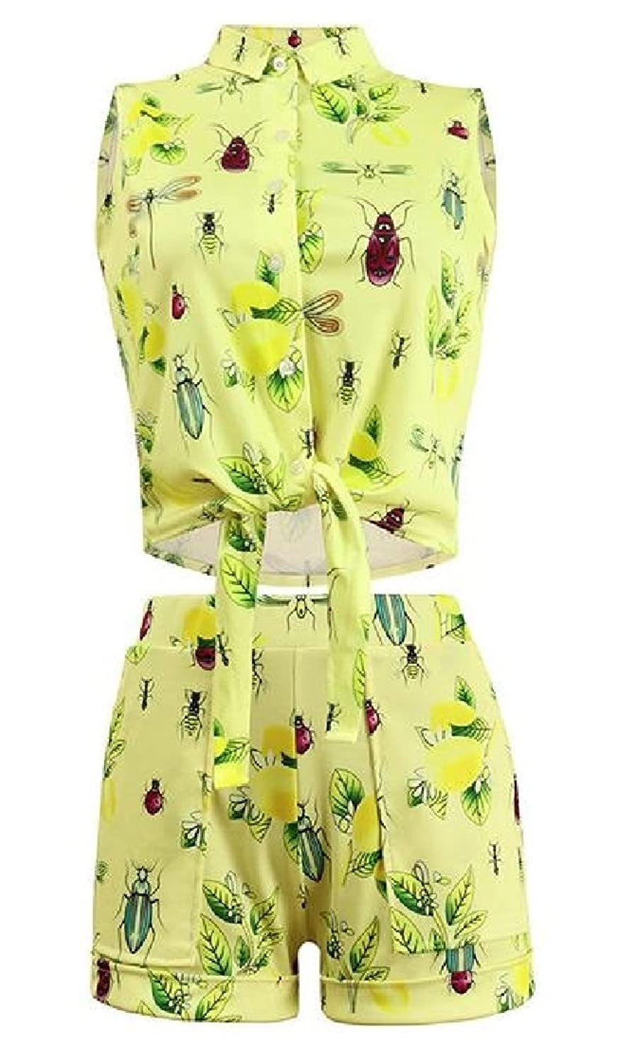 Discount Coolred-Women Top and Shorts Floral 2 Piece Button Down Straps Shorts supplier