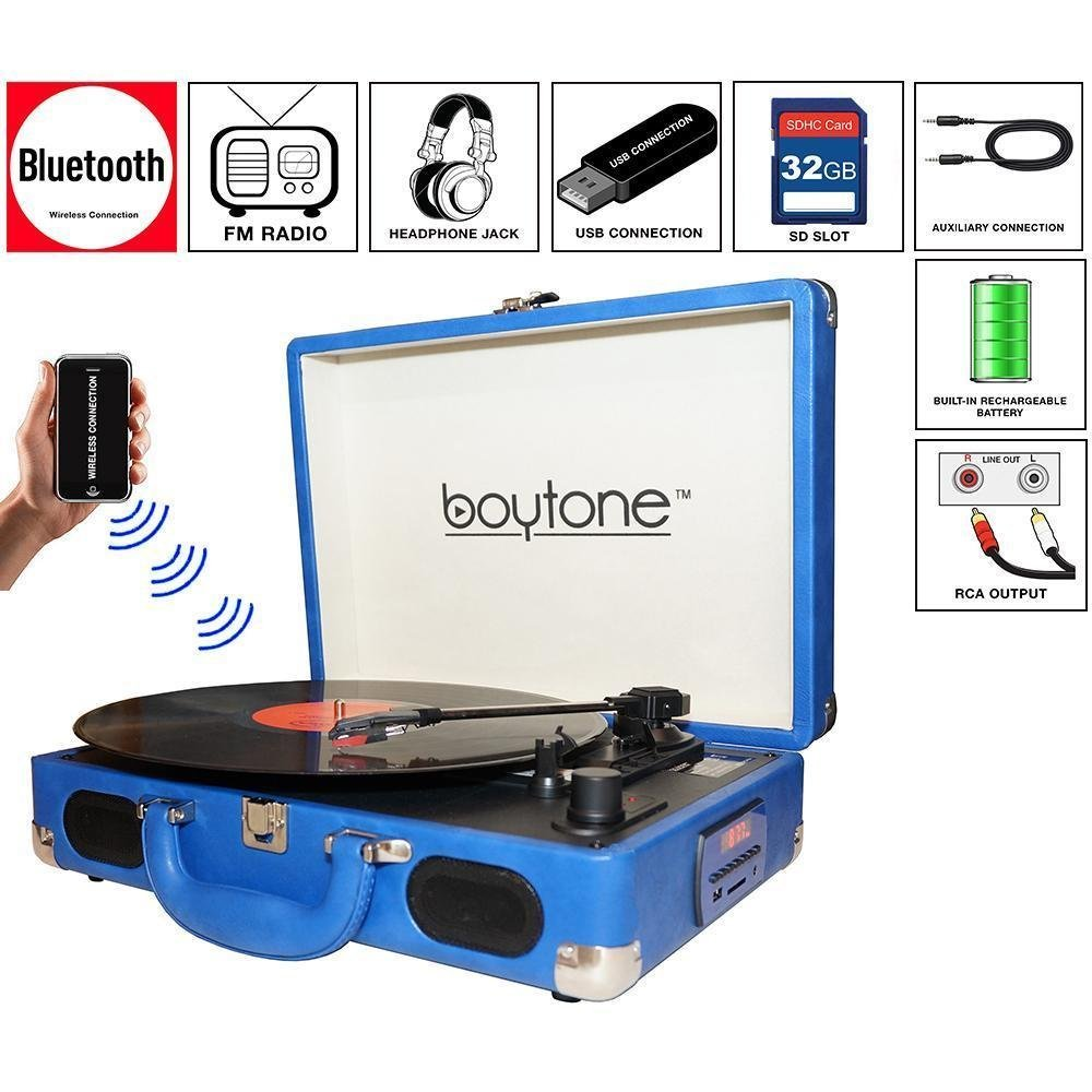 Boytone BT-101BL Bluetooth Turntable Briefcase Record player AC-DC, Built in Rechargeable Battery, 2 Stereo Speakers 3-speed, LCD Display, FM Radio, USB/SD,RCA, AUX / MP3, Enco (Certified Refurbished) by Boytone