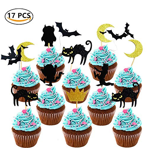 Sakolla 17 Pieces Where the Wild Things Are Inspired Cake Topper Halloween Cupcake Toppers for Halloween Party Decorations Supplies/Moon/Cat/Bat/Monster -