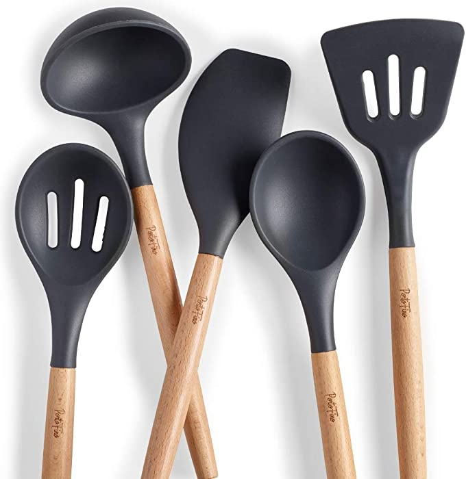 PortoFino 5 Pc. Kitchen Utensil Set/Premium Natural Beech Wood & Silicone/Home Cooking Utensils/Wooden Food Prep Tools/Soup Ladle, Slotted Spoon, Solid Spoon, Turner, Large Spatula