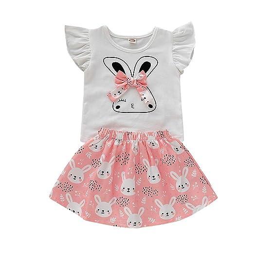 8a56ff56d08 NUWFOR Children Kids Girls Fly Sleeve Cartoon Rabbit T-Shirt+Tutu Skirt Set  Outfit