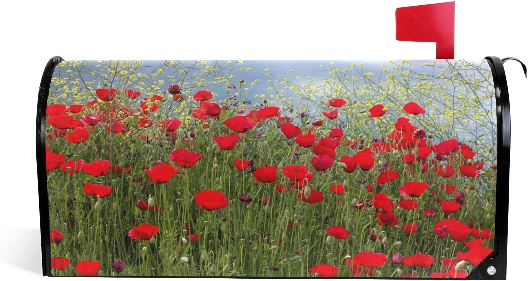ALAZA WOOR Red Poppies and Yellow Flowers Magnetic Mailbox Cover MailWraps Garden Yard Home Decor for Outside Standard Size-18x 20.8