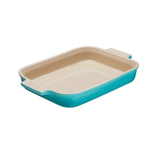 Le Creuset - Fuente rectangular de gres, 18 cm, color caribe: Amazon.es: Hogar