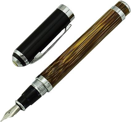 Duke - Pluma estilográfica de bambú (punta fina, tamaño mediano, incluye bolígrafo, caja de regalo), diseño de firma de negocios: Amazon.es: Oficina y papelería