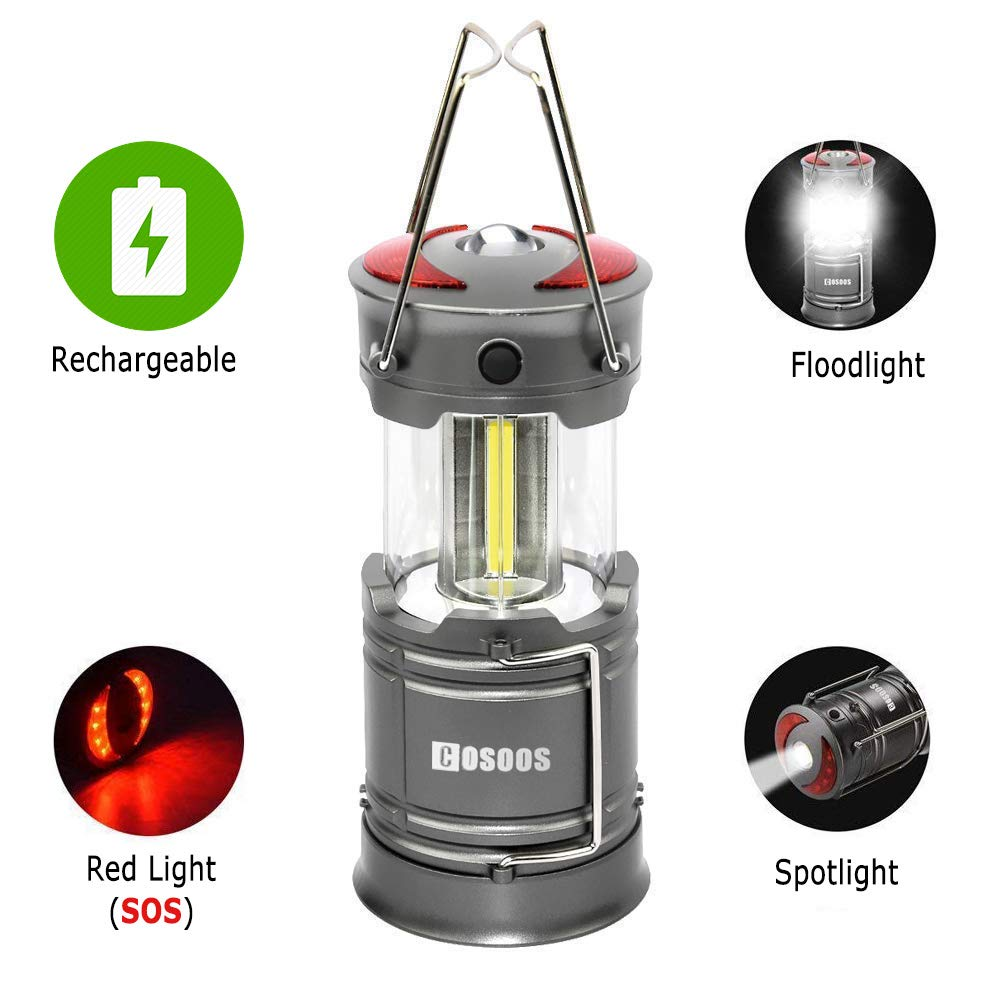 Rechargeable Lantern Flashlight, COSOOS 2 Pack Bright Camping LED Lamp with built-in 2000mAh Li-ion Battery, 4 light Mode, Red Light, for Kids, Camp, Tent, Hurricane, Support AA Battey(Not Included)