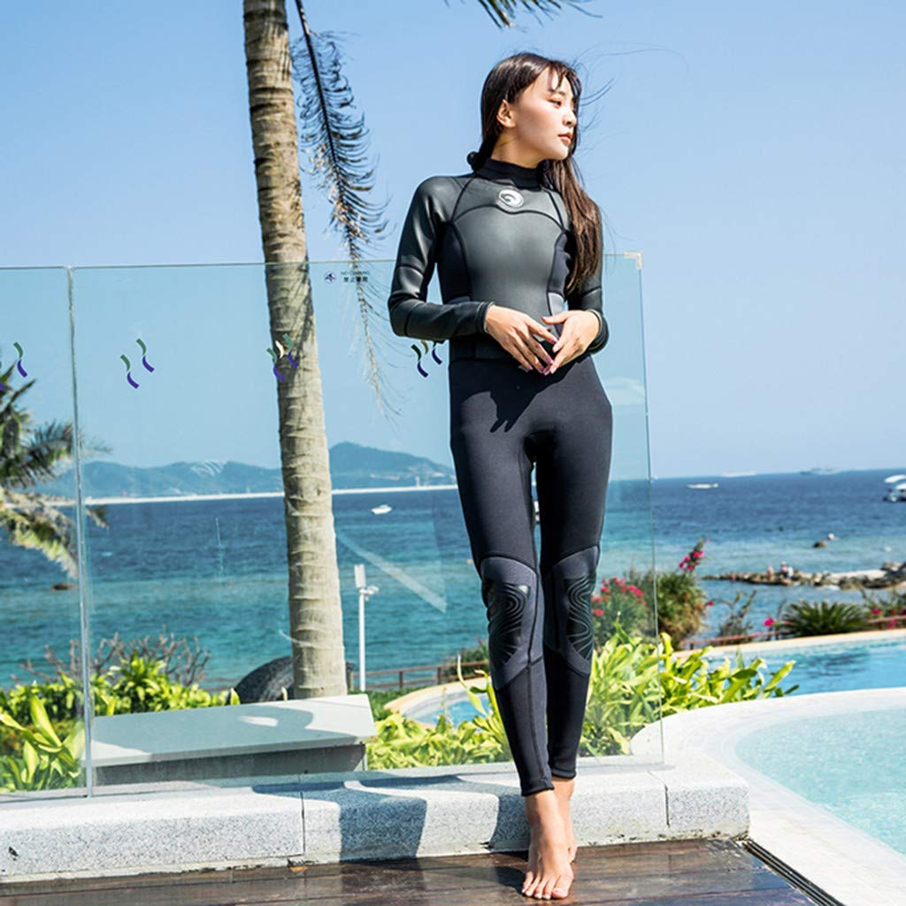 MILIMIEYIK Wetsuit Women, Womens Long Sleeve 1.5MM Neoprene Diving Jacket Front Zipper Wetsuit Top Warm Protection Black by MILIMIEYIK (Image #1)