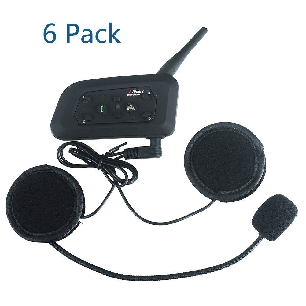 Evary (6 Pack) Motorcycle Intercom Motorbike Bluetooth Helmet Headset with Interphone for 6 Riders 1200M