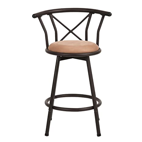 Amazon Com Ihouse Suede Padded Mid Back High Swivel Bar Stool