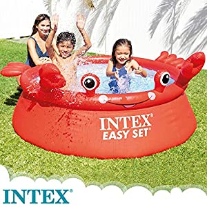 Intex 55235 – Piscina hinchable para niños a partir de 3 años, con diseño cangrejo, 183×51 cm, 880 litros, Easy Set, rojo