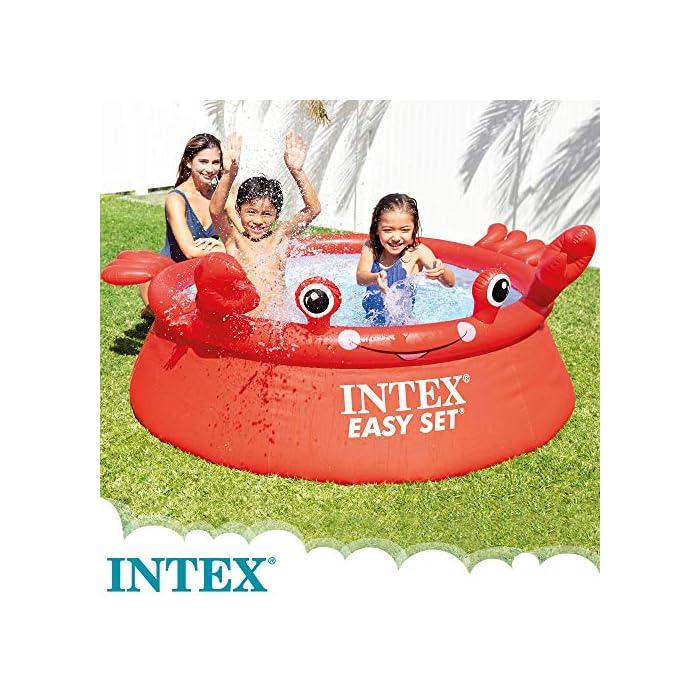 61qmcY3cdcL Piscina hinchable infantil INTEX gama Easy Set, formato redondo Medidas: 183x51 cm, capacidad para 880 litros Diseño: cangrejo con ojos y extremidades en relieve hinchable