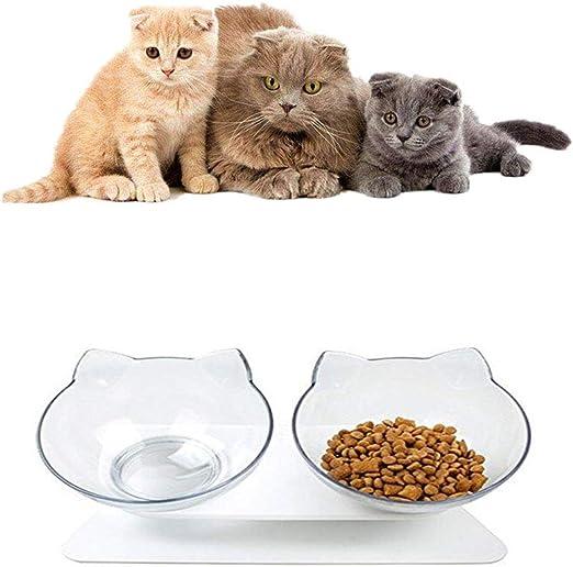 ZYZ Pet Cat Bowl, Alimentador de Orejas de Gato Doble Inclinado a ...