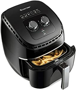 "SPSUPE 3.5Qt 1300W Air Fryer, Electric Hot Oil-Less Oven Cooker with Non Stick Fry Basket, Temperature Control and Smart Time, Auto Shut Off, 10 ""(L) X 13 ""(W) X 13.5""(H), Black"