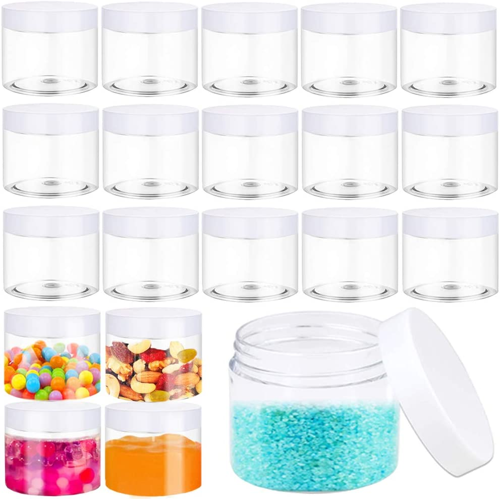 20 PCS 2 oz Clear Plastic Round Slime Containers,Plastic Jars with White Lids,Round Cosmetic Containers for Cosmetics,Slime,Lotion,Food Storage