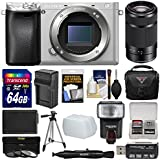 Sony Alpha A6300 4K Wi-Fi Digital Camera Body (Silver) with 55-210mm Lens + 64GB Card + Case + Flash + Diffuser + Battery/Charger + Filters + Kit