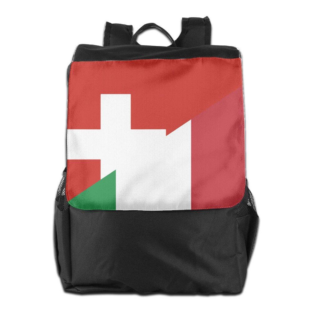 HWLXILVA Unisex Flag Of Switzerland And Italy Print Custom Casual School Bag Backpack Multipurpose Travel Daypack