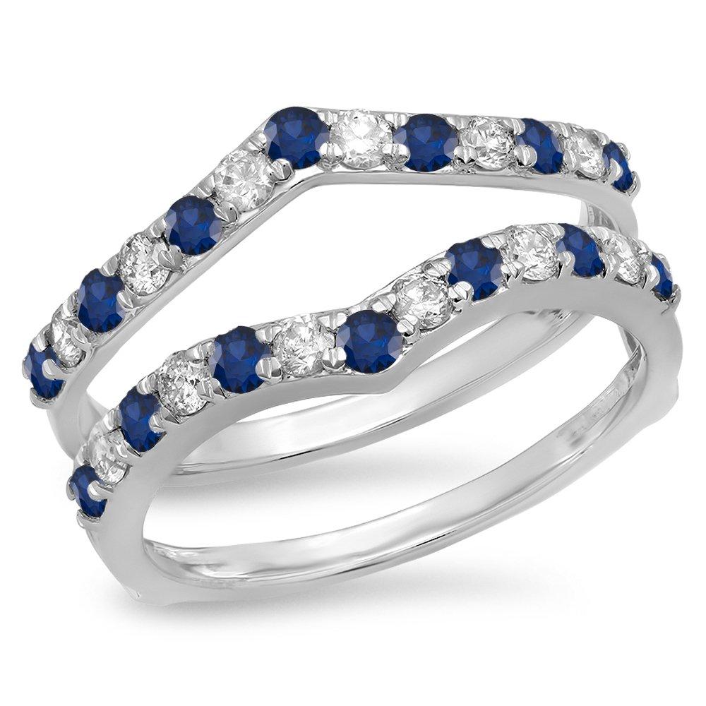 Dazzlingrock Collection 14K Round Blue Sapphire & White Diamond Wedding Enhancer Guard Double Band 1 CT, White Gold, Size 7.5 by Dazzlingrock Collection
