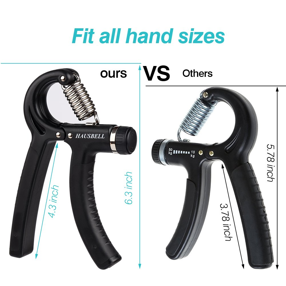 Grip strength trainer,HAUSBELL 2 PACK Hand Grip,30-145 Lbs Hand Grip Fitness Adjustable Hand Strengthener Resistance Strength Trainer Non-slip Gripper