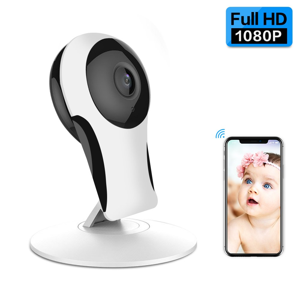 1080P Security Camera,ANBAHOME WiFi Camera Wireless IP Cam for Home Surveillance Pet and Baby Monitor with Night Vision Two Way Audio Support 128G SD Card