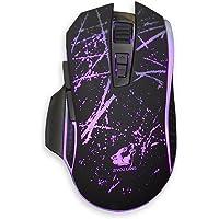 samlike V1Wired Gaming Mouse rétroéclairage LED RGB 3200dpi 7boutons gamer optique Plaque en métal 7couleurs Respiration lumière B