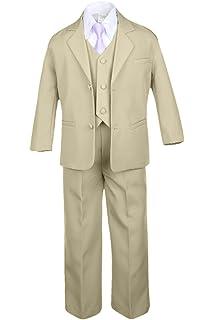 16 6pc Boys Khaki Tuxedo Suits with Satin Geometric Necktie Baby Kid Teen
