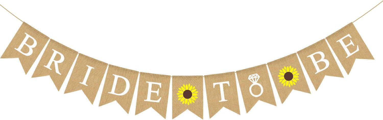 Rainlemon Bride to Be Banner Jute Burlap Sunflower Bridal Shower Party Decoration