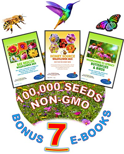 Wildflower Seeds Bulk + 7 BONUS Gardening eBooks + 100,000 Open-Pollinated Wildflower Seeds, 1oz Packets, Non-GMO, No Fillers, Annual, Perennial Wildflower Seeds Year Round Planting, Bees Pollinators