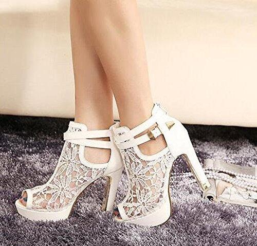 Fischkopf Damen Sandalen kurz Stiefel Weiß