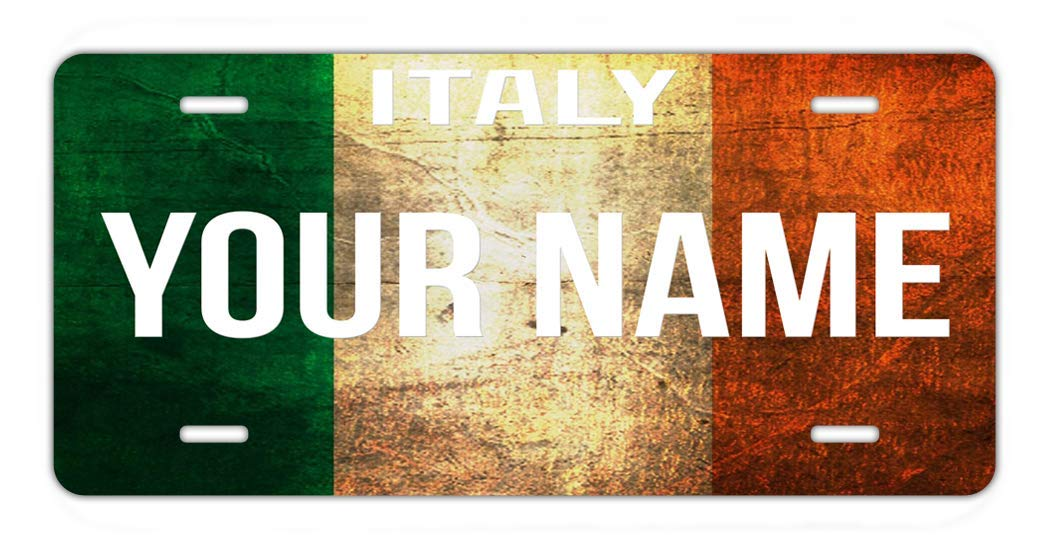 BRGiftShop Personalize Your Own License Italy Flag Country Plate Car Vehicle 6x12 Tag