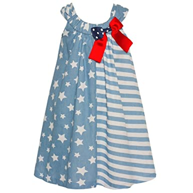 0f0fbcedd Amazon.com  Bonnie Jean Baby Girls Blue Red Star Stripe Print Bow ...