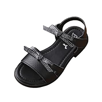 Black Cute Summer Buckle Preschool Kids Girls Sandals Toddler Shoes Size 9