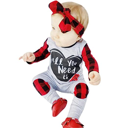 96a925d21963 Amazon.com  Vicbovo Cute Baby Girl Boy Plaid Patchwork Long Sleeve Jumpsuit  Romper with Headband Infant Clothes Outfit  Clothing