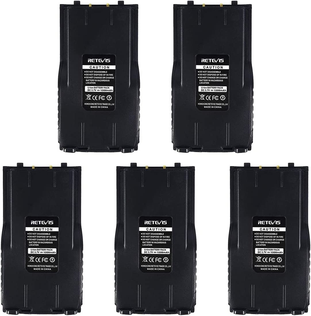 Retevis RT7 Two Way Radio Rechargeable Battery 3.7V 1000mAh Compatible with Retevis RT7 Walkie Talkie(5 Pack)