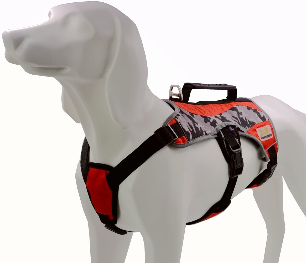 Escape Proof Multi-use Dog Harness for Pulling, Reflective, Camouflage Khaki & Red