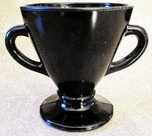 Vintage Hazel Atlas Black Glass Sugar Bowl 3-3/4