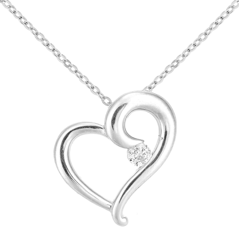 Naava Collar para Mujer de Oro Blanco 9K con Diamantes 0.005 ct