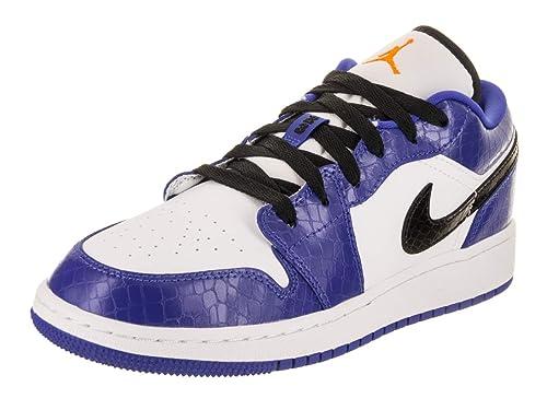 db4ef32ea77014 Jordan Nike Kids Air 1 Low BG Hyper Royal Orange Peel Wht Basketball Shoe 7  Kids US  Amazon.co.uk  Shoes   Bags