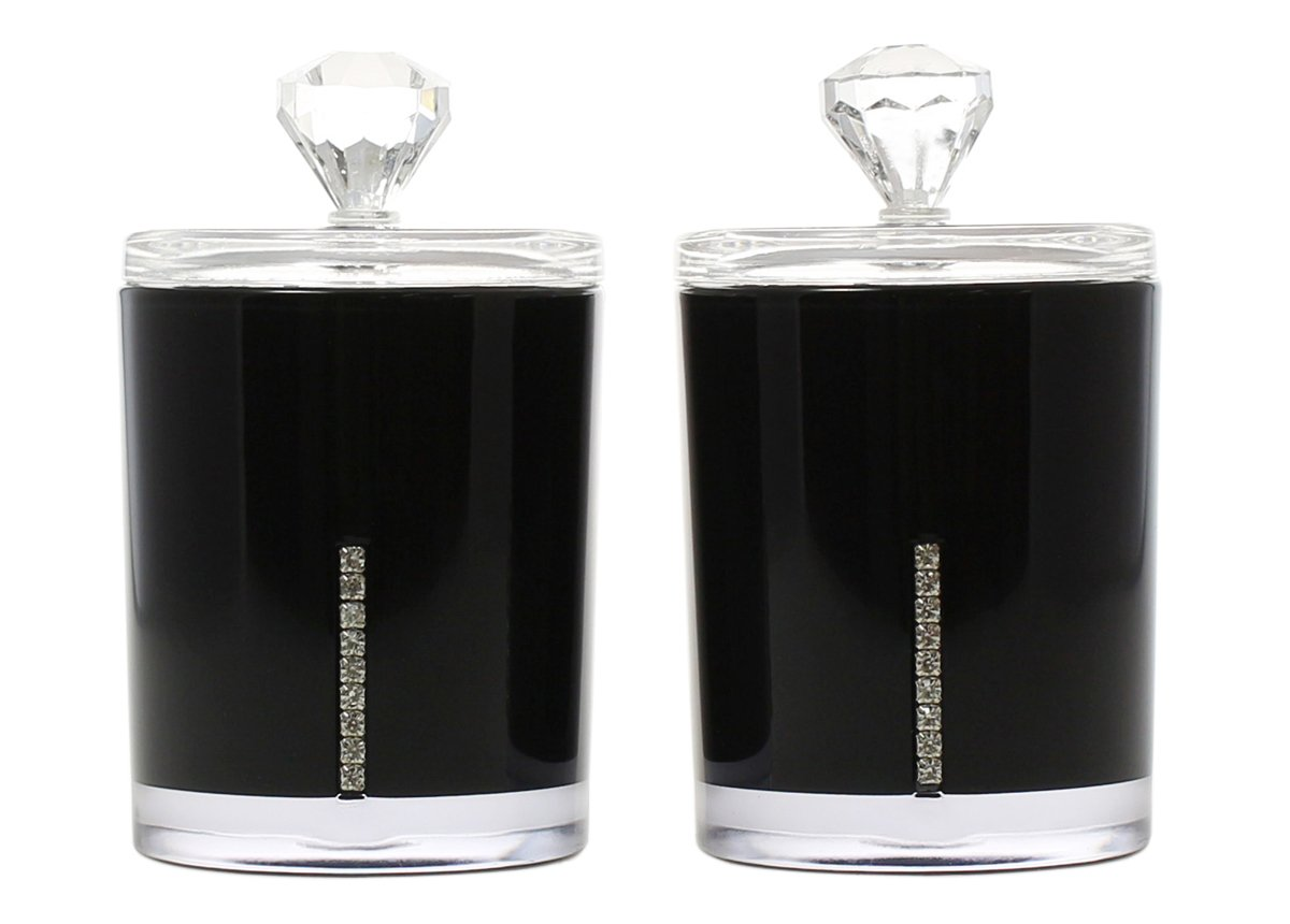 Cotton Swab Holder Storage with Lid - Set of 2 Acrylic Black