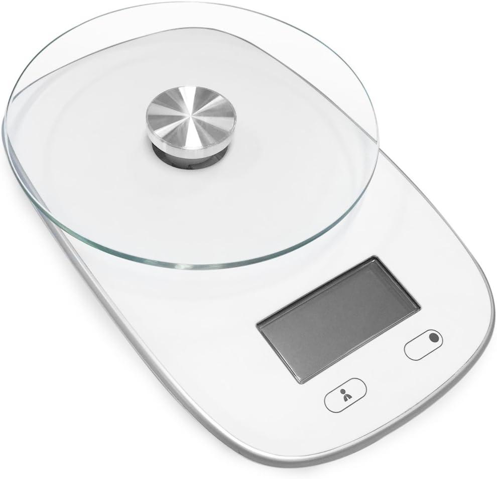 Tristar KW-2445 Balanza de cocina con capacidad máxima 5 kg y plato con vidrio de seguridad, 3 W, Blanco