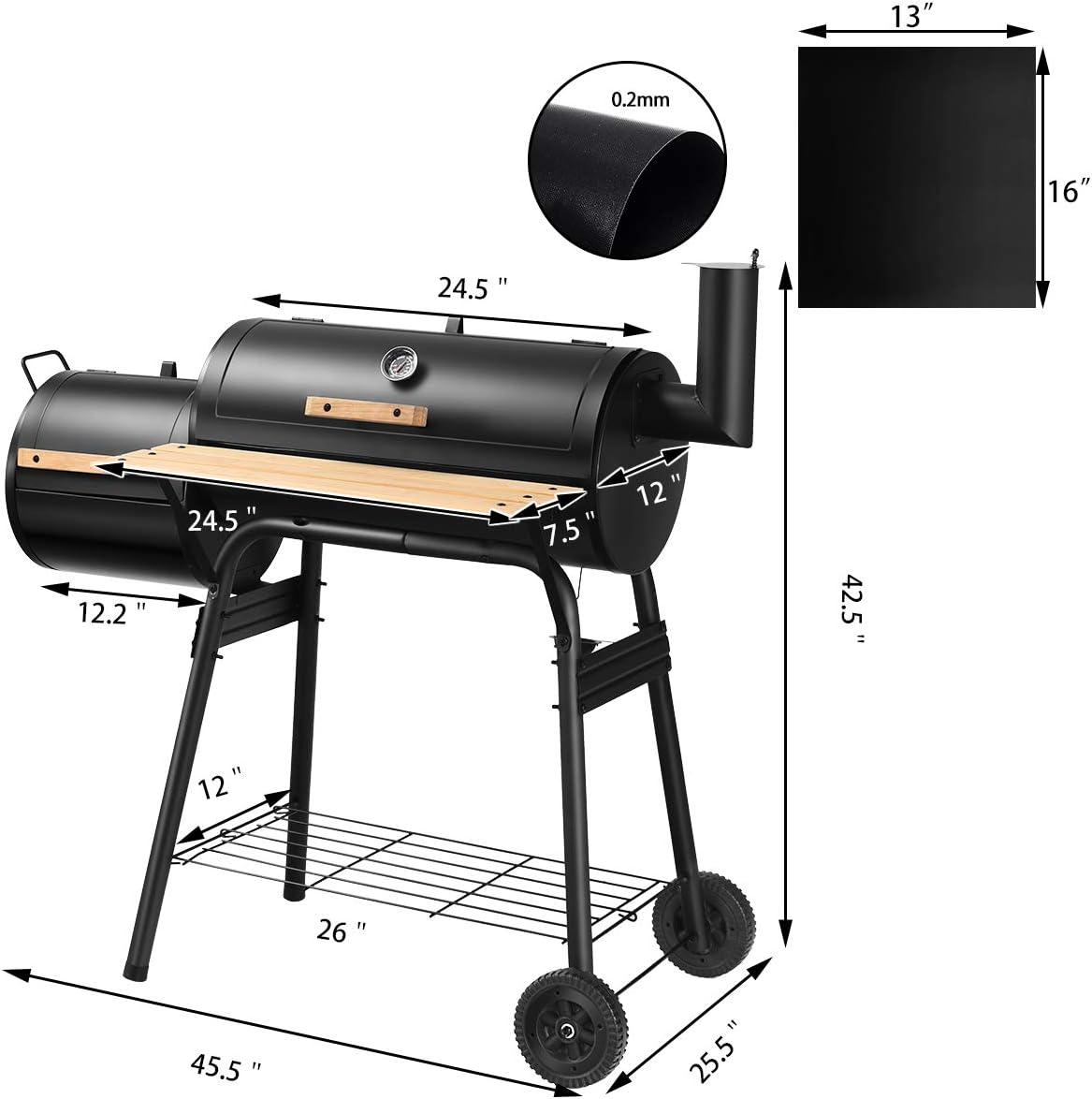 Giantex Barbecue avec 2 Tapis de Barbecue, Grille à Charbon