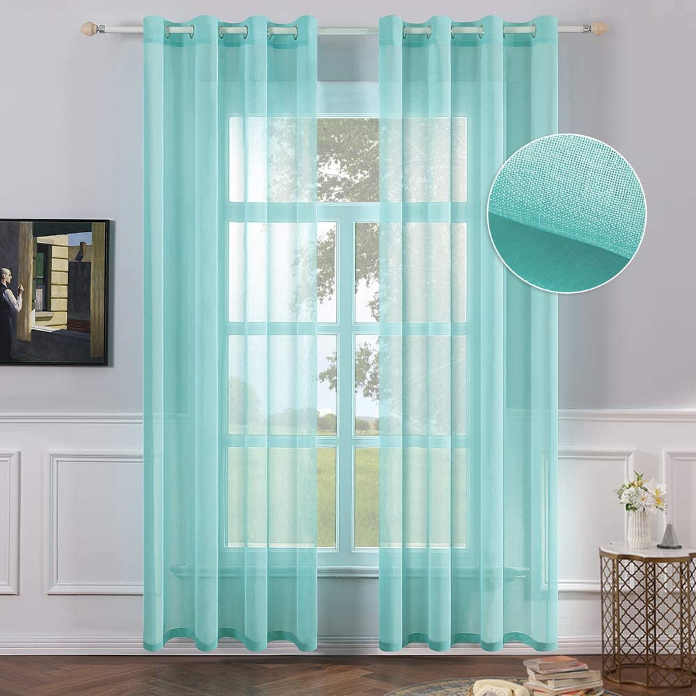 MIULEE 2 Panels Turquoise Semi Sheer Window Curtains Elegant Grommet Top Window Voile Panels/Drapes/Treatment Linen Textured Panels for Bedroom Living Room (54X84 Inches)