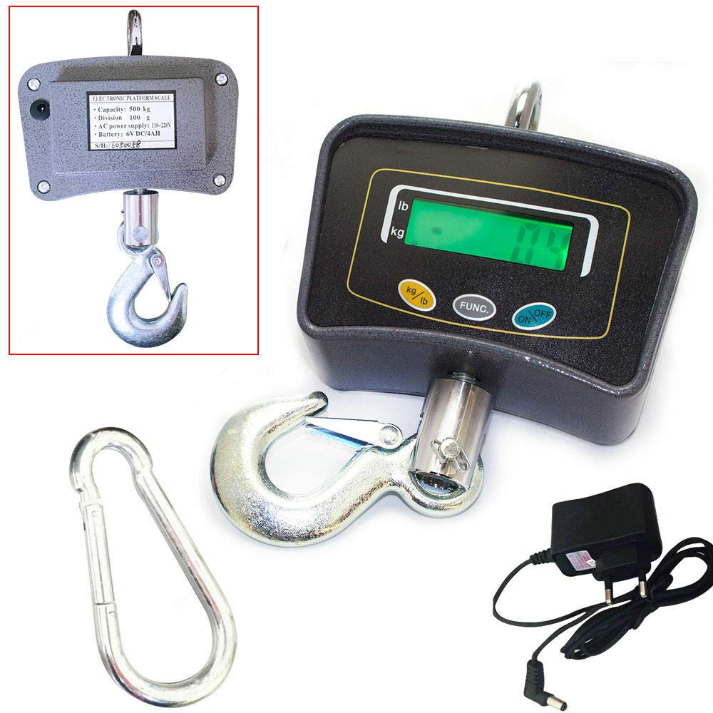Crane Scale RANZHIX Electric Digital Crane Scale Heavy Duty Industrial Hanging Scale Multifunction Hook Hanging Weight Scale with AC Adapter