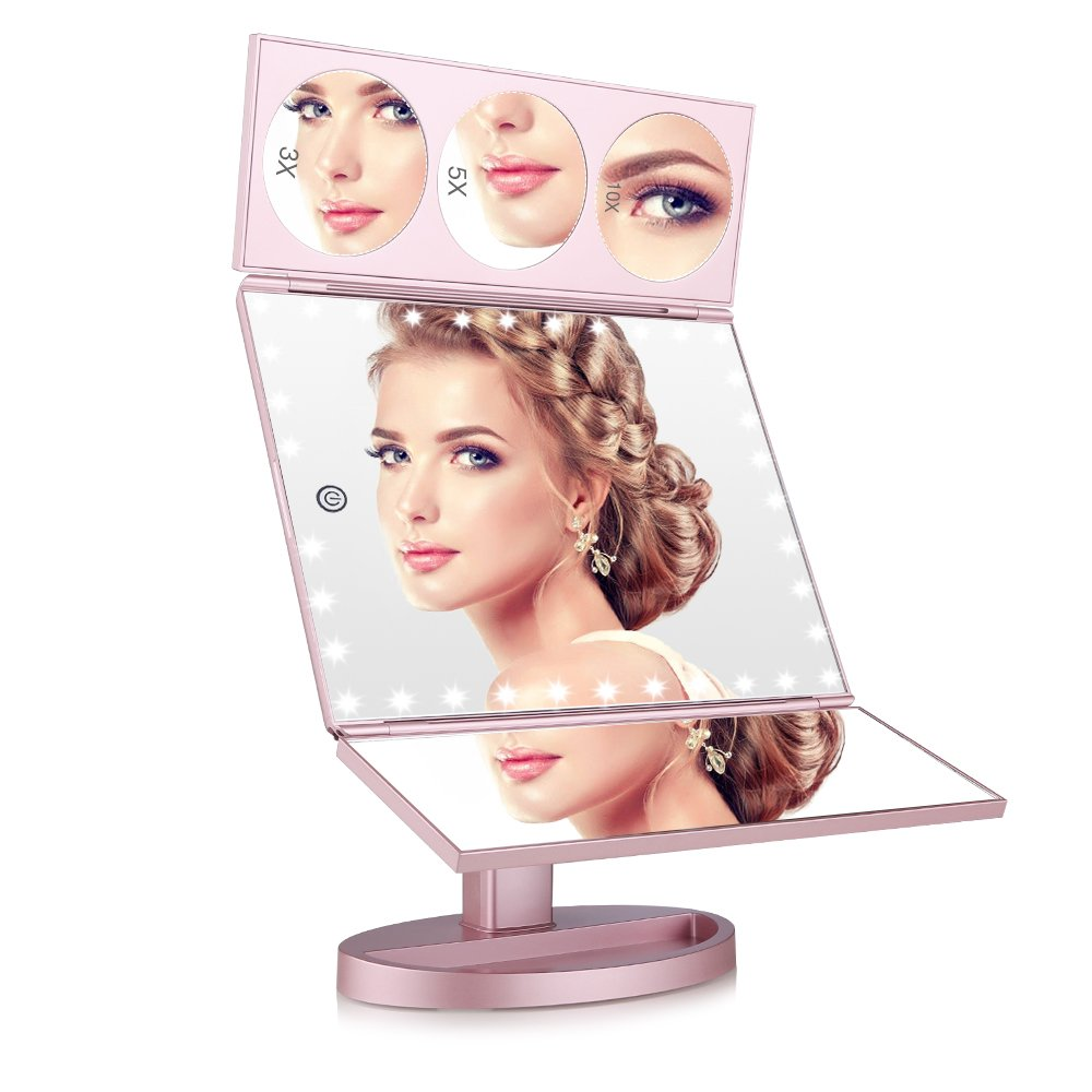 Easehold 35 LED Lighted Vanity Makeup Mirror Tri-Fold with 3 X 5X 10X Magnifiers 360 Degree Free Rotation Countertop Bathroom Cosmetic Mirror (Rose Gold)