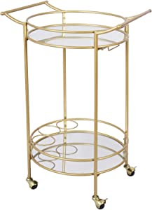 Bar Cart with 2 Mirrored Shelves, Durable Wine Cart with Casters, Suitable for Kitchen, Club, Living Room, Antique Gold Finish (22x18x33inch)