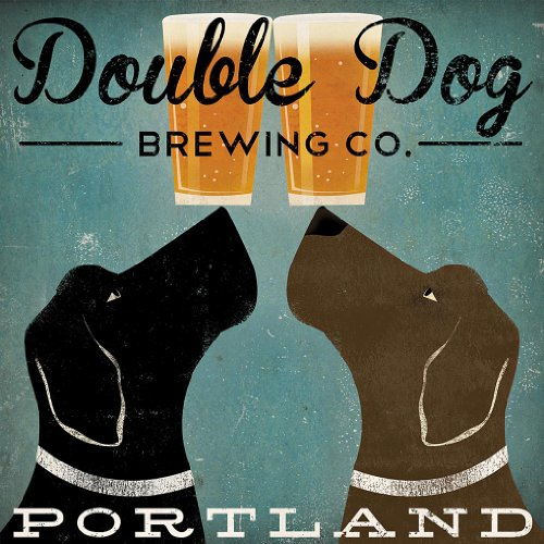 Double Dog Brewing Co Portland Black Labradors by Ryan Fowler 12x12 Beer (Antique Dog Art)